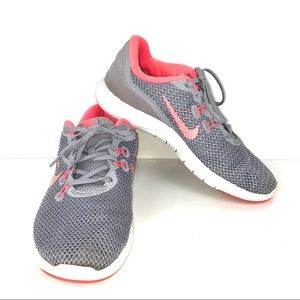 Nike Flex TR7 Gray And Peach Knit Sneakers Size 8